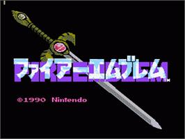 Title screen of Fire Emblem on the Nintendo NES.