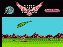 Title screen of Fire Hawk on the Nintendo NES.