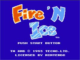 Title screen of Fire and Ice on the Nintendo NES.