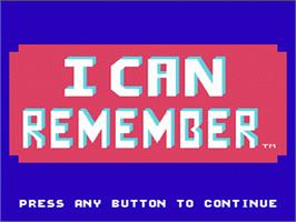 Title screen of Fisher-Price: I Can Remember on the Nintendo NES.