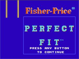 Title screen of Fisher-Price: Perfect Fit on the Nintendo NES.