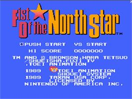 Title screen of Fist Of The North Star on the Nintendo NES.