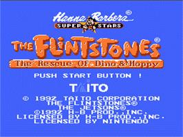 Title screen of Flintstones: The Rescue of Dino & Hoppy on the Nintendo NES.