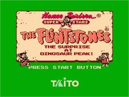 Title screen of Flintstones: The Surprise at Dinosaur Peak on the Nintendo NES.
