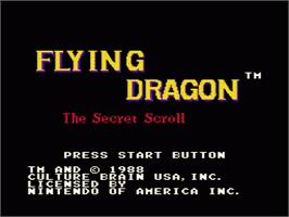 Title screen of Flying Dragon: The Secret Scroll on the Nintendo NES.