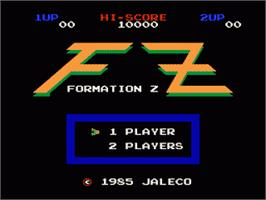 Title screen of Formation Z on the Nintendo NES.