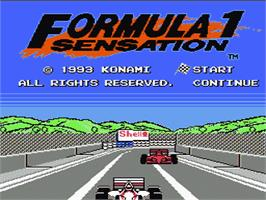 Title screen of Formula 1 Sensation on the Nintendo NES.