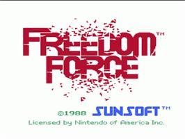 Title screen of Freedom Force on the Nintendo NES.