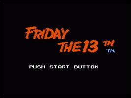 Title screen of Friday the 13th on the Nintendo NES.