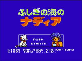 Title screen of Fushigi no Umi no Nadia on the Nintendo NES.