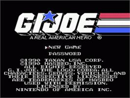 Title screen of G.I. Joe: A Real American Hero on the Nintendo NES.