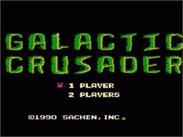 Title screen of Galactic Crusader on the Nintendo NES.