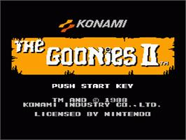 Title screen of Goonies 2 on the Nintendo NES.