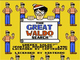 Title screen of Great Waldo Search on the Nintendo NES.
