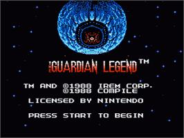 Title screen of Guardian Legend on the Nintendo NES.