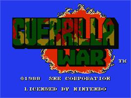 Title screen of Guerrilla War on the Nintendo NES.
