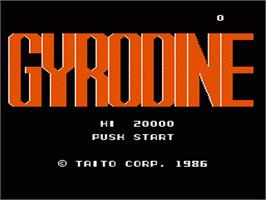 Title screen of Gyrodine on the Nintendo NES.