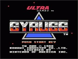 Title screen of Gyruss on the Nintendo NES.