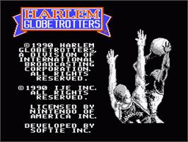 Title screen of Harlem Globetrotters on the Nintendo NES.
