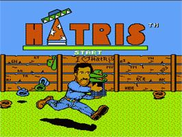 Title screen of Hatris on the Nintendo NES.