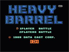 Title screen of Heavy Barrel on the Nintendo NES.
