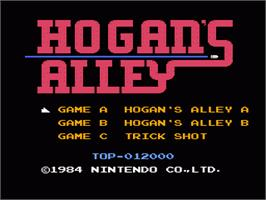 Title screen of Hogan's Alley on the Nintendo NES.