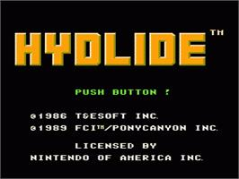 Title screen of Hydlide on the Nintendo NES.