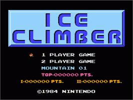 Title screen of Ice Climber on the Nintendo NES.