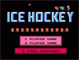 Title screen of Ice Hockey on the Nintendo NES.