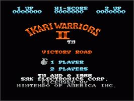 Title screen of Ikari Warriors 2 on the Nintendo NES.