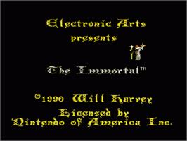 Title screen of Immortal on the Nintendo NES.