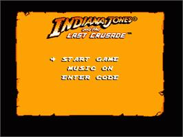 Title screen of Indiana Jones and the Last Crusade on the Nintendo NES.