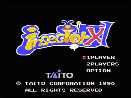 Title screen of Insector-X on the Nintendo NES.