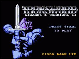 Title screen of Ironsword: Wizards & Warriors 2 on the Nintendo NES.