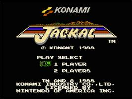 Title screen of Jackal on the Nintendo NES.
