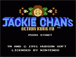 Title screen of Jackie Chan's Action Kung Fu on the Nintendo NES.