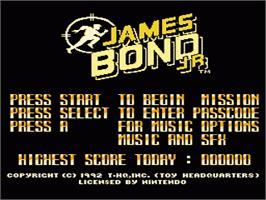 Title screen of James Bond Jr. on the Nintendo NES.