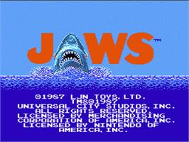 Title screen of Jaws on the Nintendo NES.