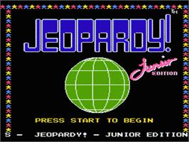 Title screen of Jeopardy! Junior Edition on the Nintendo NES.