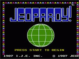Title screen of Jeopardy on the Nintendo NES.
