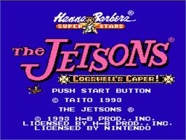 Title screen of Jetsons: Cogswell's Caper on the Nintendo NES.