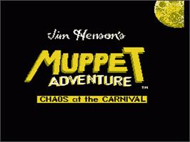 Title screen of Jim Henson's Muppet Adventure: Chaos at the Carnival on the Nintendo NES.