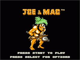 Title screen of Joe & Mac: Caveman Ninja on the Nintendo NES.