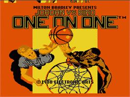 Title screen of Jordan vs. Bird: One-on-One on the Nintendo NES.