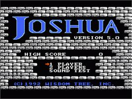 Title screen of Joshua & the Battle of Jericho on the Nintendo NES.