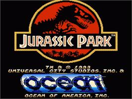 Title screen of Jurassic Park on the Nintendo NES.