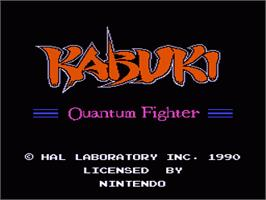 Title screen of Kabuki: Quantum Fighter on the Nintendo NES.