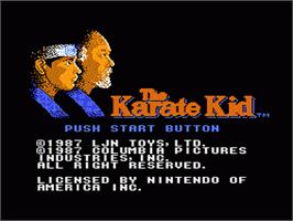 Title screen of Karate Kid on the Nintendo NES.
