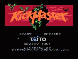 Title screen of Kick Master on the Nintendo NES.