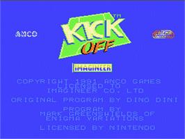 Title screen of Kick Off on the Nintendo NES.
